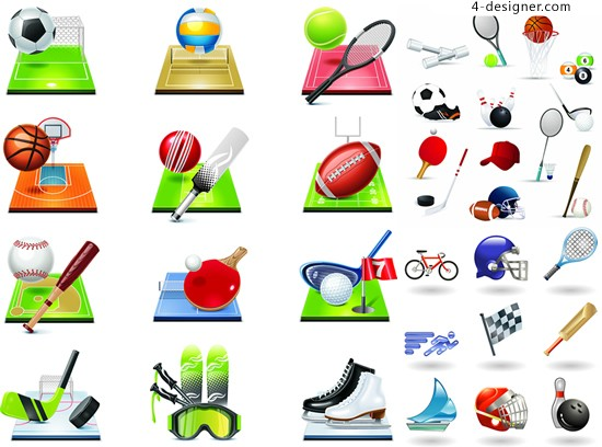 Sports related icons vector material