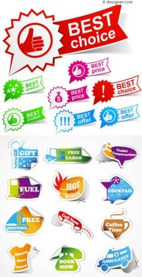Sticker label page vector material