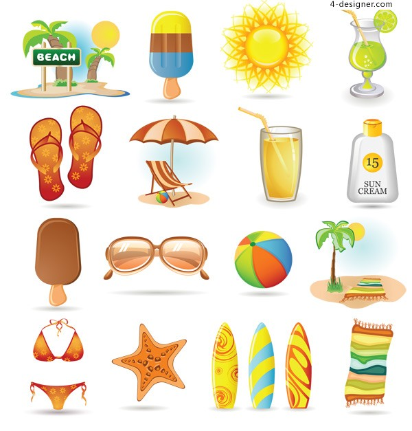 Summer tourism icon vector material