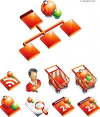 Supermarket Shopping Icons vector material