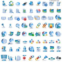 Technology blue icon vector material