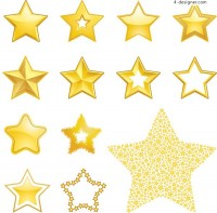 Variety cute five pointed star vector material