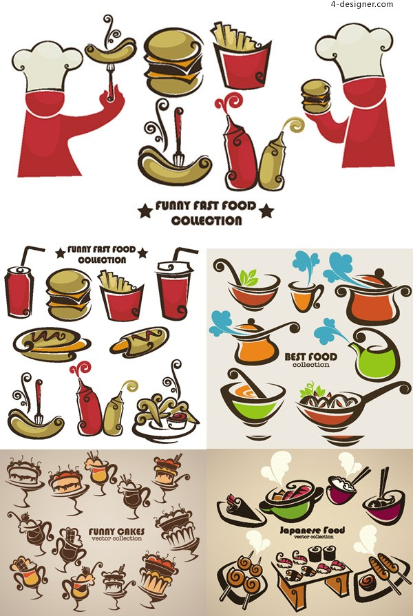 Western style fast food icon vector material
