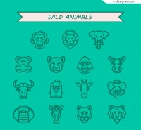 Wild animal heads icon