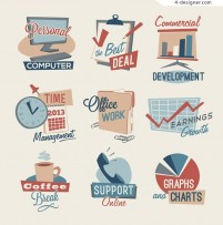 Workplace office icon vector material