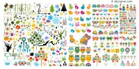Cute animals and plants vector