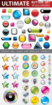 3D crystal icon vector material