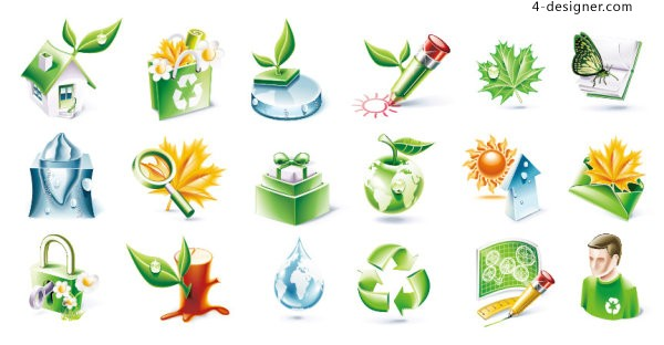 3D environmental icon vector material