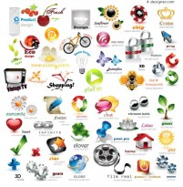 3D icon set vector material