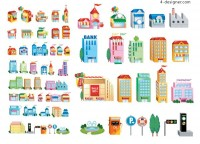 3D small house icon vector material