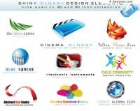 3D style logo template vector material