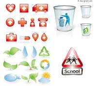 4 sets of icon vector material