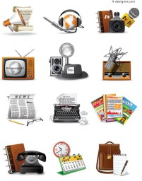 60 s correspondent icon vector material