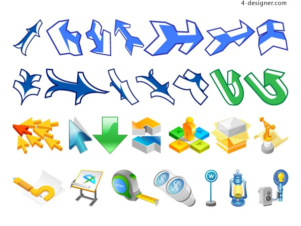 A variety of arrow 3 vector material