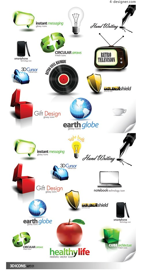 Beautiful 3D icon vector material