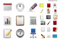 Beautifully office icon vector material