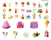 Birthday theme icon vector material