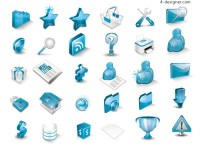 Blue 3D icon vector material