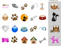 Cats and dogs theme vector material