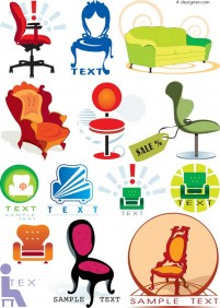 Chairs graphic theme vector material