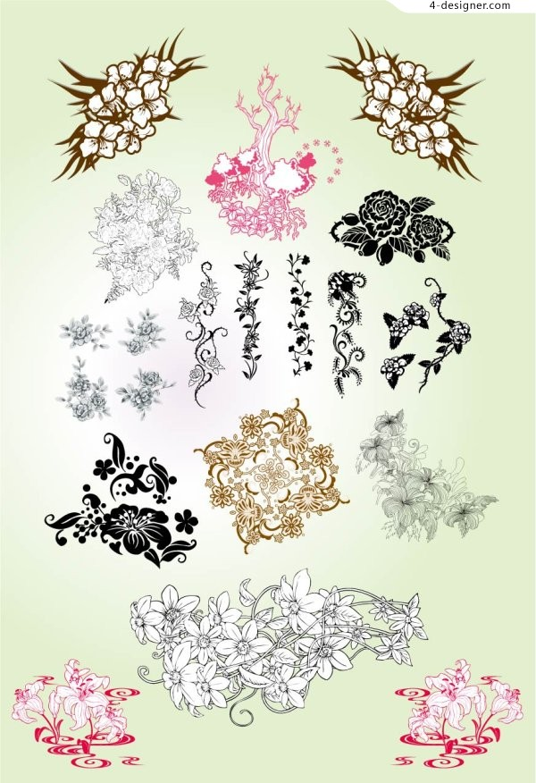 Classical pattern Flowers vector material