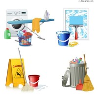 Cleaning Tools icon vector material