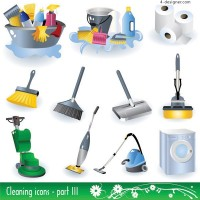 Cleaning supplies icon vector material