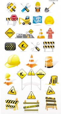 Construction traffic icon vector material