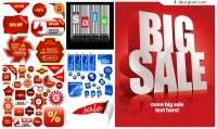 Discount sales icon vector material