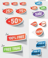 Discount sales sticker vector material