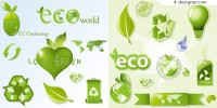 Eco theme icon vector material