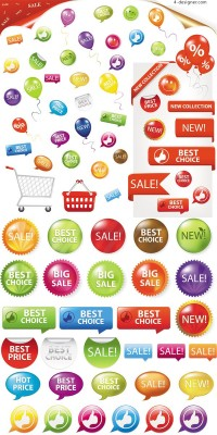 Fine supermarket labels vector material