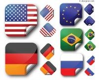Flag sticker vector material