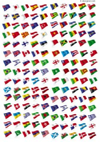 Flags around the world vector material