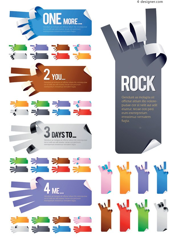 Gestures shaped paper paper vector material