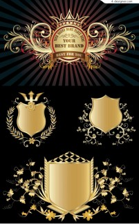 Gold shield badge vector material