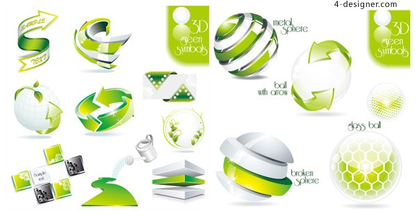 Green 3D icon vector material