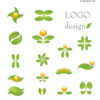 Green Leaf theme logo vector material