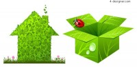 Green houses and boxes vector material