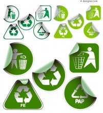 Green sticker icon vector material