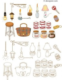 Hand painted household goods icon vector material
