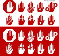 Hand warning icon vector material