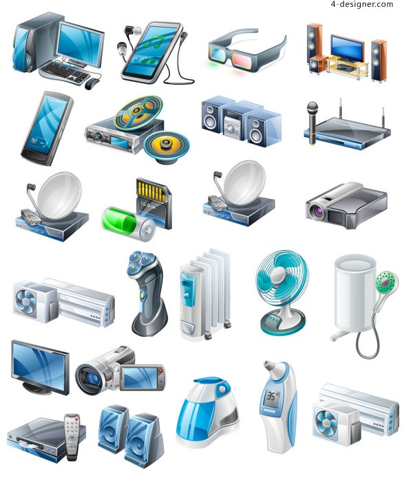 Household appliances icons vector material