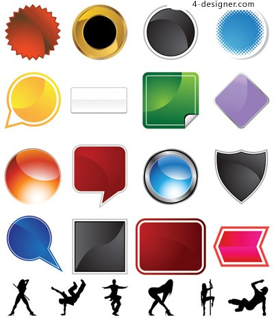 Icons and female silhouette vector material