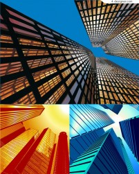 Looking up high rise buildings vector material