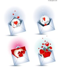 Love letter theme icons vector material