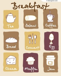 Lovely breakfast icon vector material