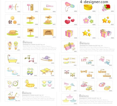 Lovely items icon 2 vector material