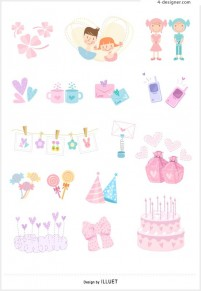 Lovely items icon 3 vector material