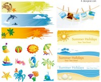 Lovely summer element vector material